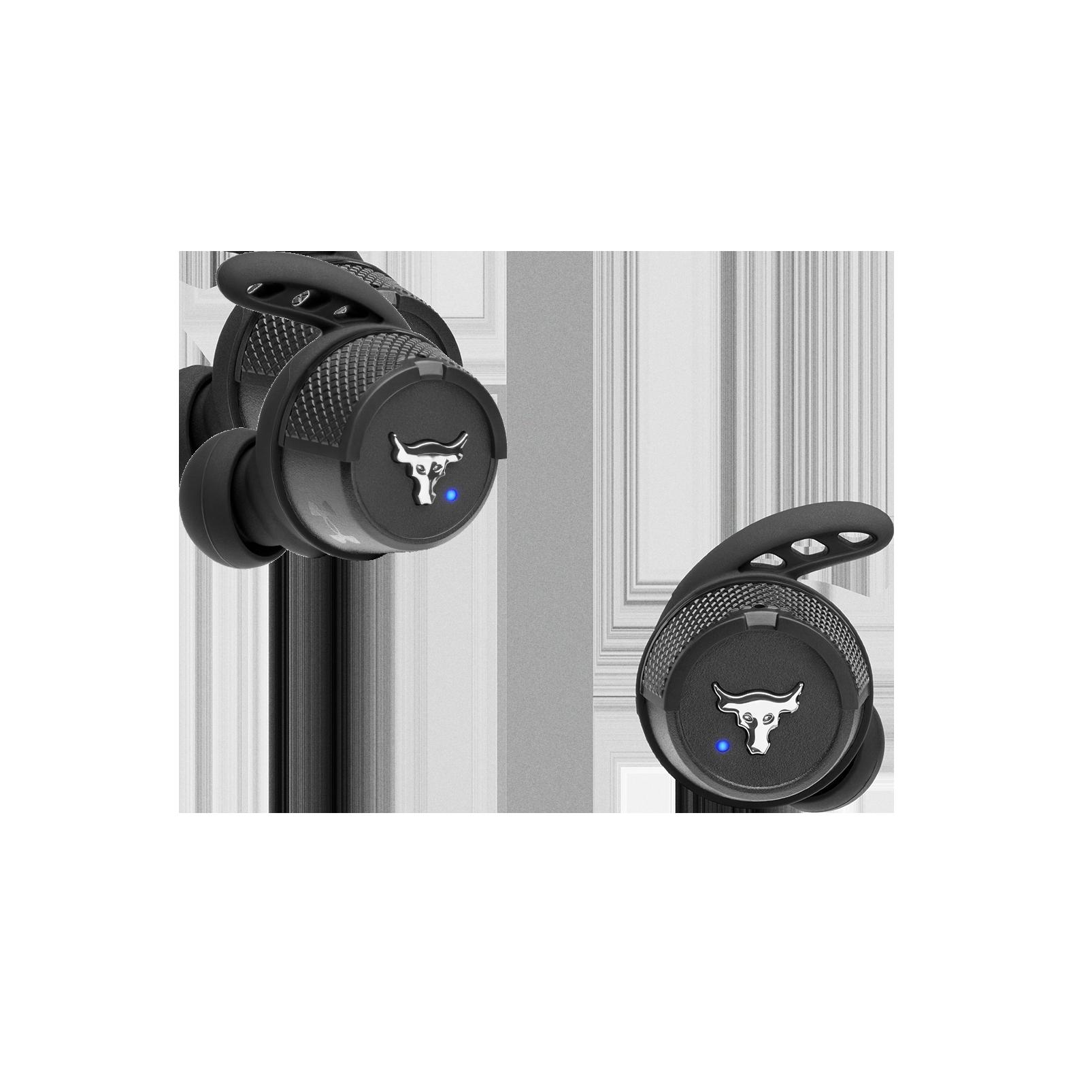 UA Project Rock True Wireless X - Engineered by JBL - Black - Waterproof true wireless sport earbuds - Front