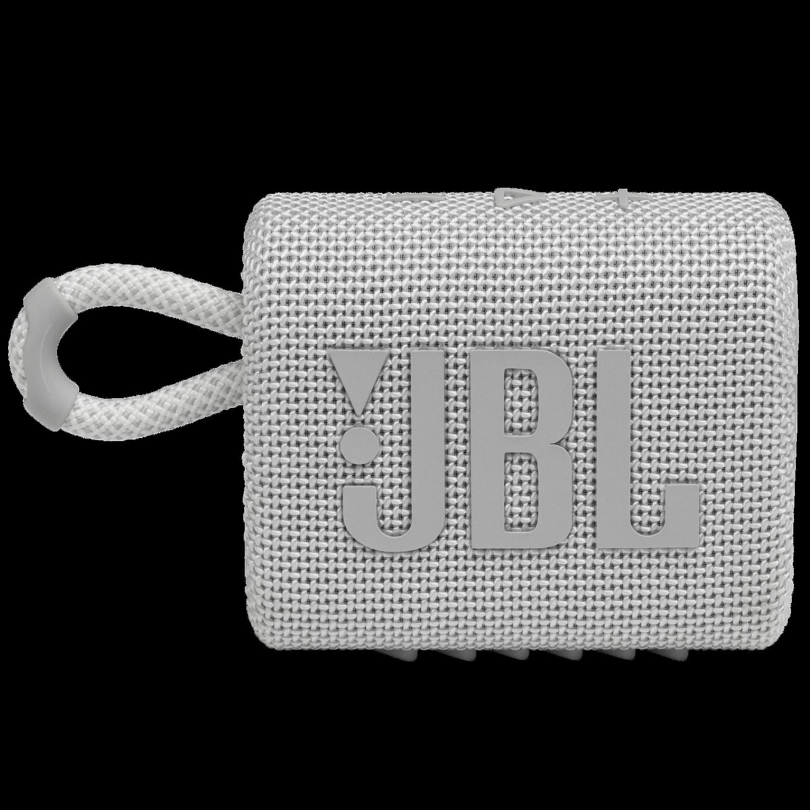 JBL GO 3 - White - Portable Waterproof Speaker - Front
