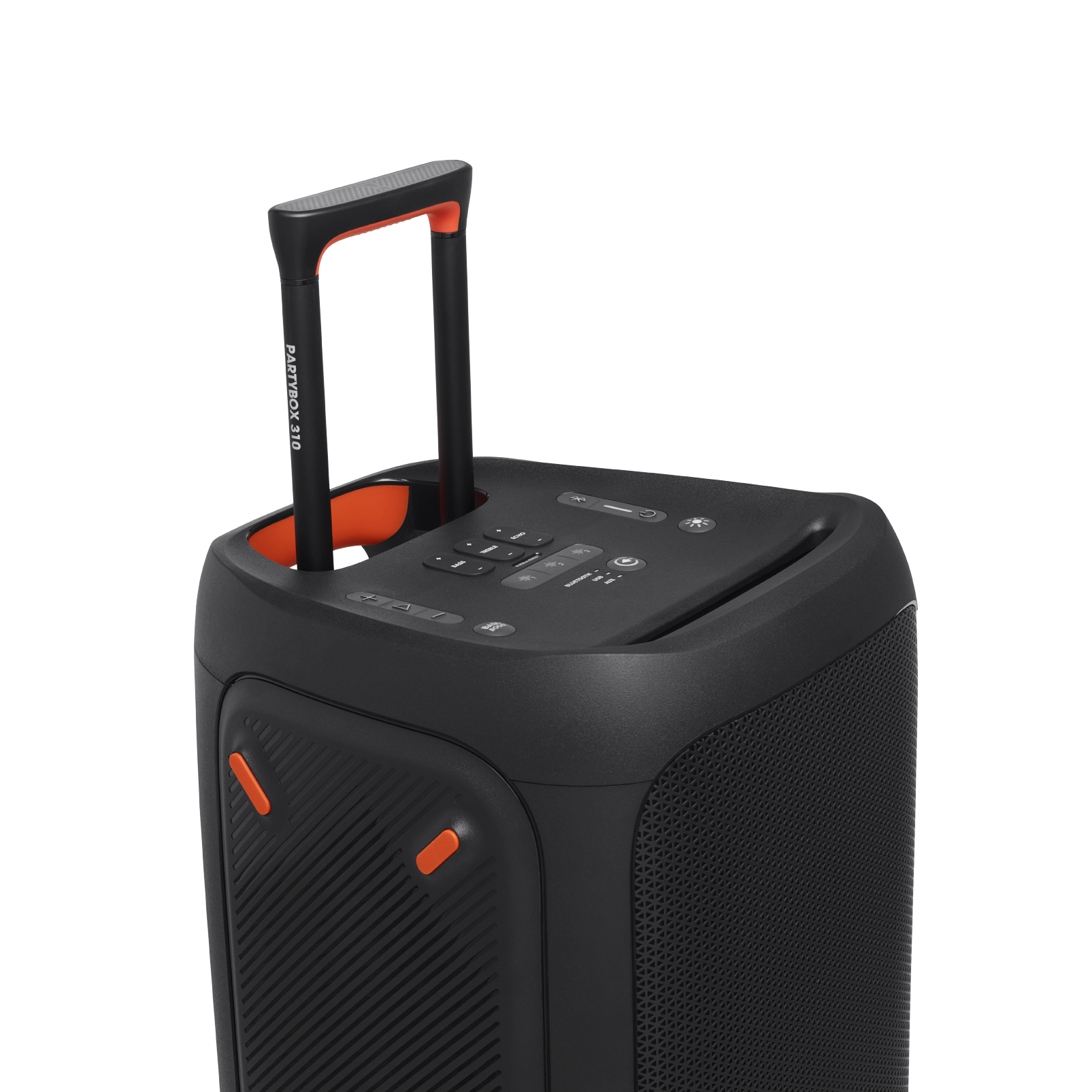 JBL Partybox 310 + Mic - Black - Portable party speaker with 240W powerful sound, built-in lightshow and wired mic - Detailshot 4