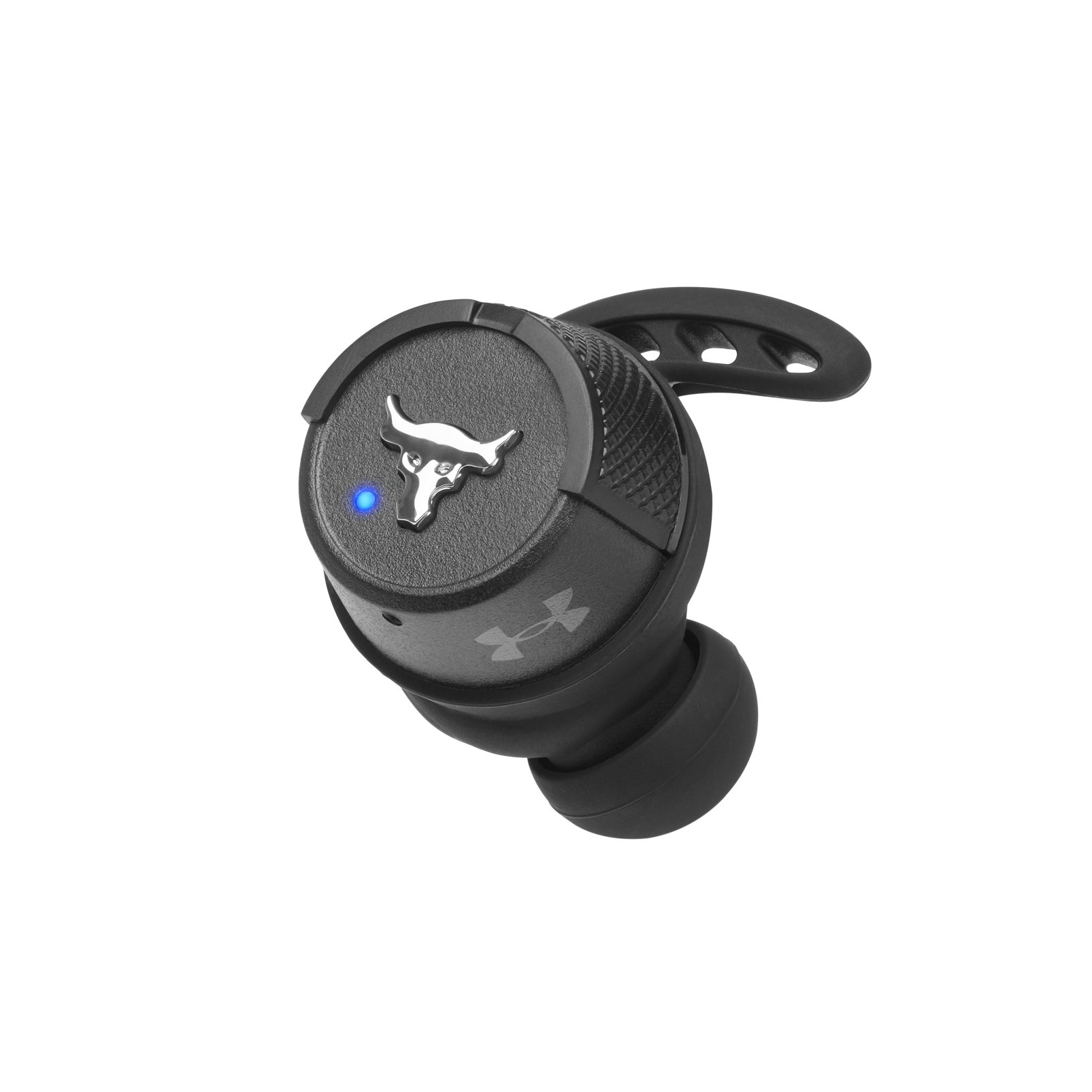 UA Project Rock True Wireless X - Engineered by JBL - Black - In-Ear Sport Headphones - Detailshot 2