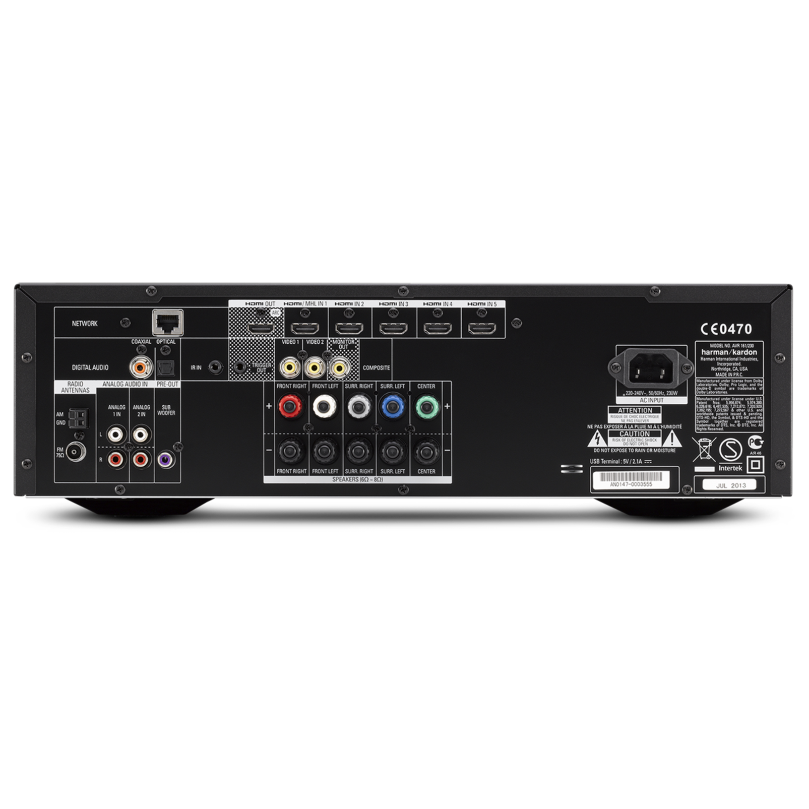 AVR 161 - Black - 425-watt, 5.1-channel, networked AVR with Bluetooth connectivity - Back