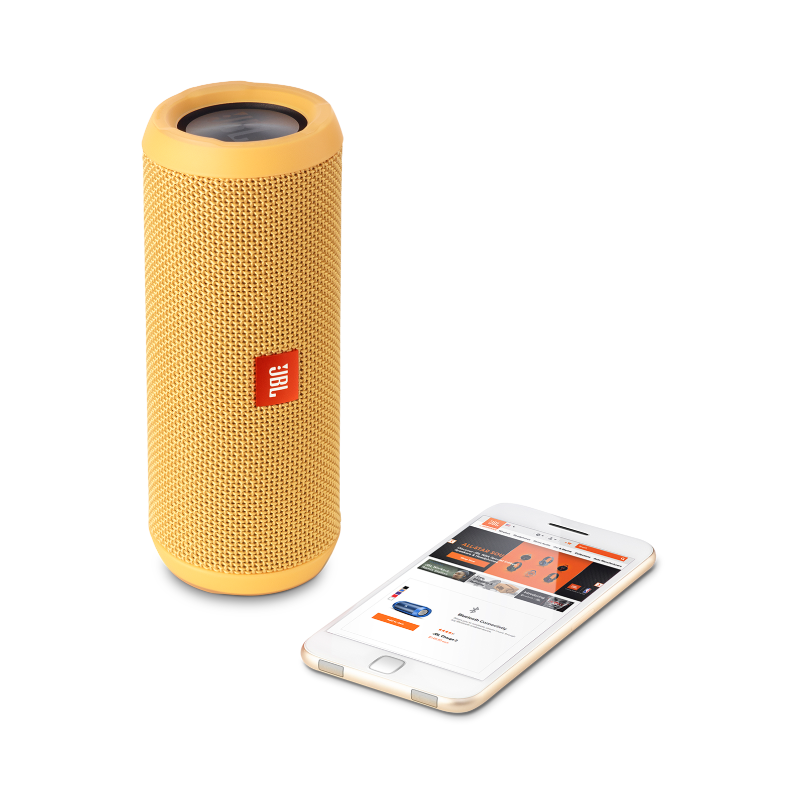 JBL Flip 3 - Yellow - Splashproof portable Bluetooth speaker with powerful sound and speakerphone technology - Detailshot 1